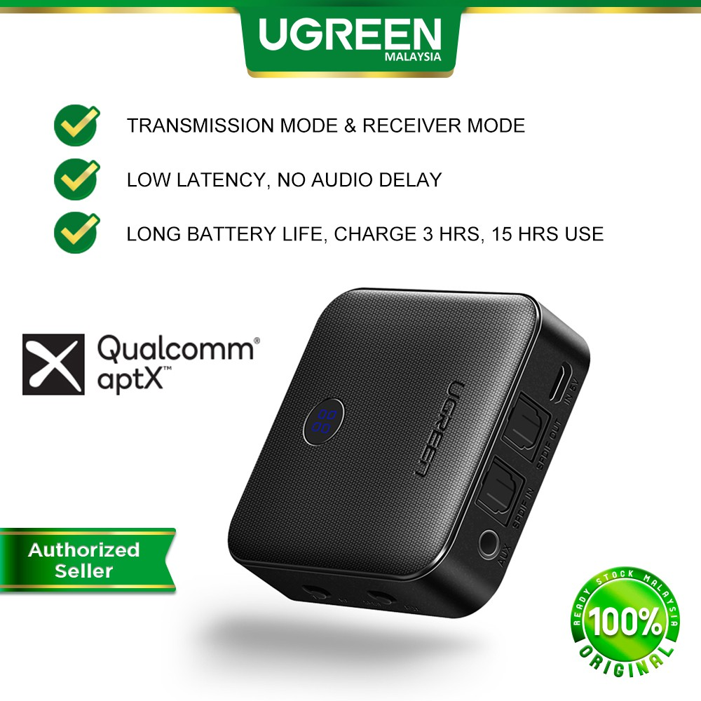 UGREEN Bluetooth 5.0 Transmitter Receiver APTX 2 in 1 Wireless Audio Adapter with Digital Optical TOSLINK and 3.5mm
