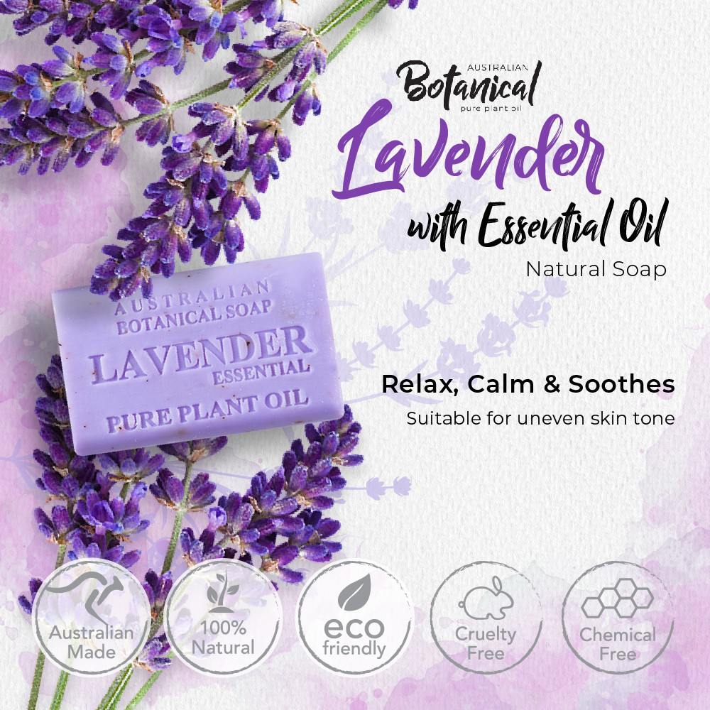 Lavender with Essential Oil AUSTRALIAN BOTANICAL Natural Soap 200g, Uplifting & Relaxing Mood, Soothing & Moisturizing