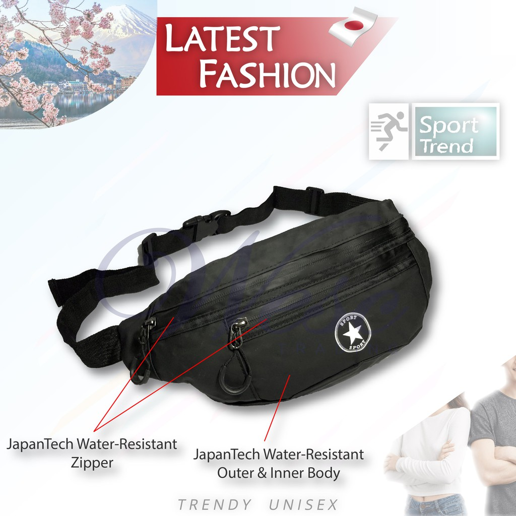 Japanese Sport 100% Water Resistant Large Waist Pouch / Chest Bag (Black)