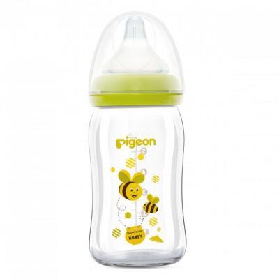 Pigeon: Wide-Neck Softouch Glass Peristaltic Plus Nursing Bottle 160ml/5oz - 1pc - Bee