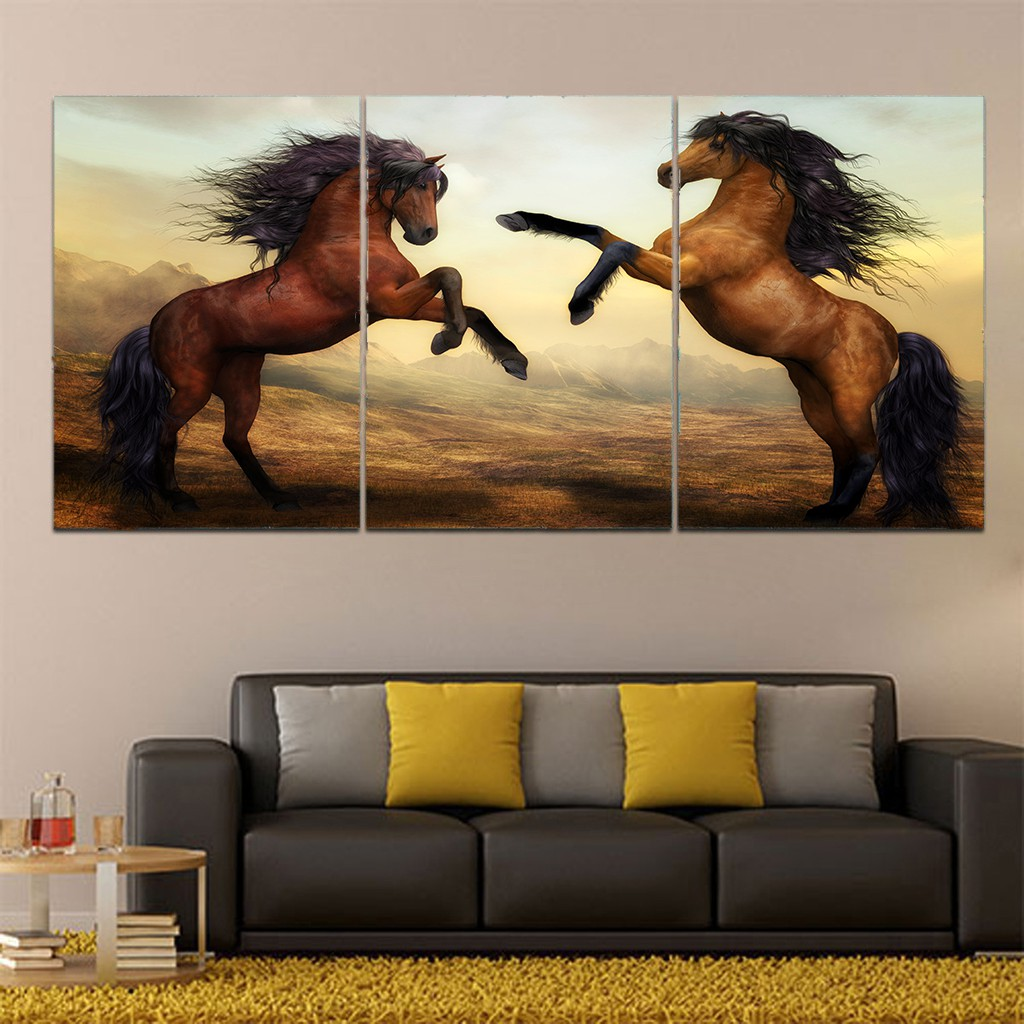 No Frame Two Horses Painting Wall Art Picture Canvas Modern Shopee Malaysia