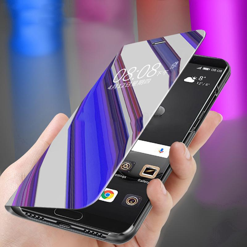 purchase cheap d4d05 5ae11 Huawei P30 Honor 10 Lite P Smart 2019 Case Flip Stand View Smart Mirror  Cover