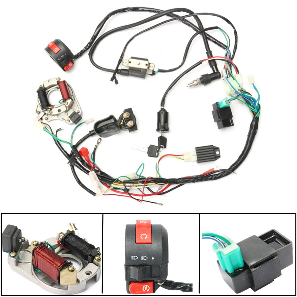 Wire Harness Stator embly Wiring Fit Atv Electric Quad 50 70 90 110Cc on