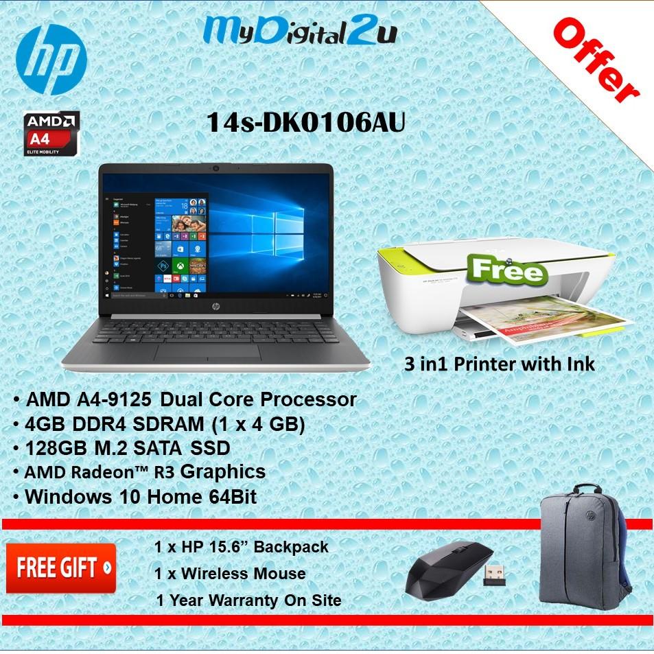 Hp 14s Dk0106au 14 Laptop Amd A4 9125 4gb 128gb Ssd Amd Radeon R3 W10 Shopee Malaysia