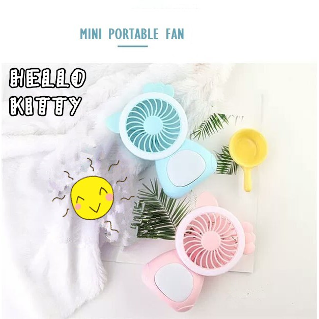Hello Kitty Cute Cartoon Fan Chargeable Portable Electric Table Mini Fan Light Mode Cooling Fan