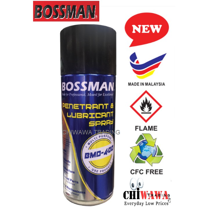 BOSSMAN 400ml Multi Purpose Penetrant & Lubricant Aerosol Oil Spray Minyak