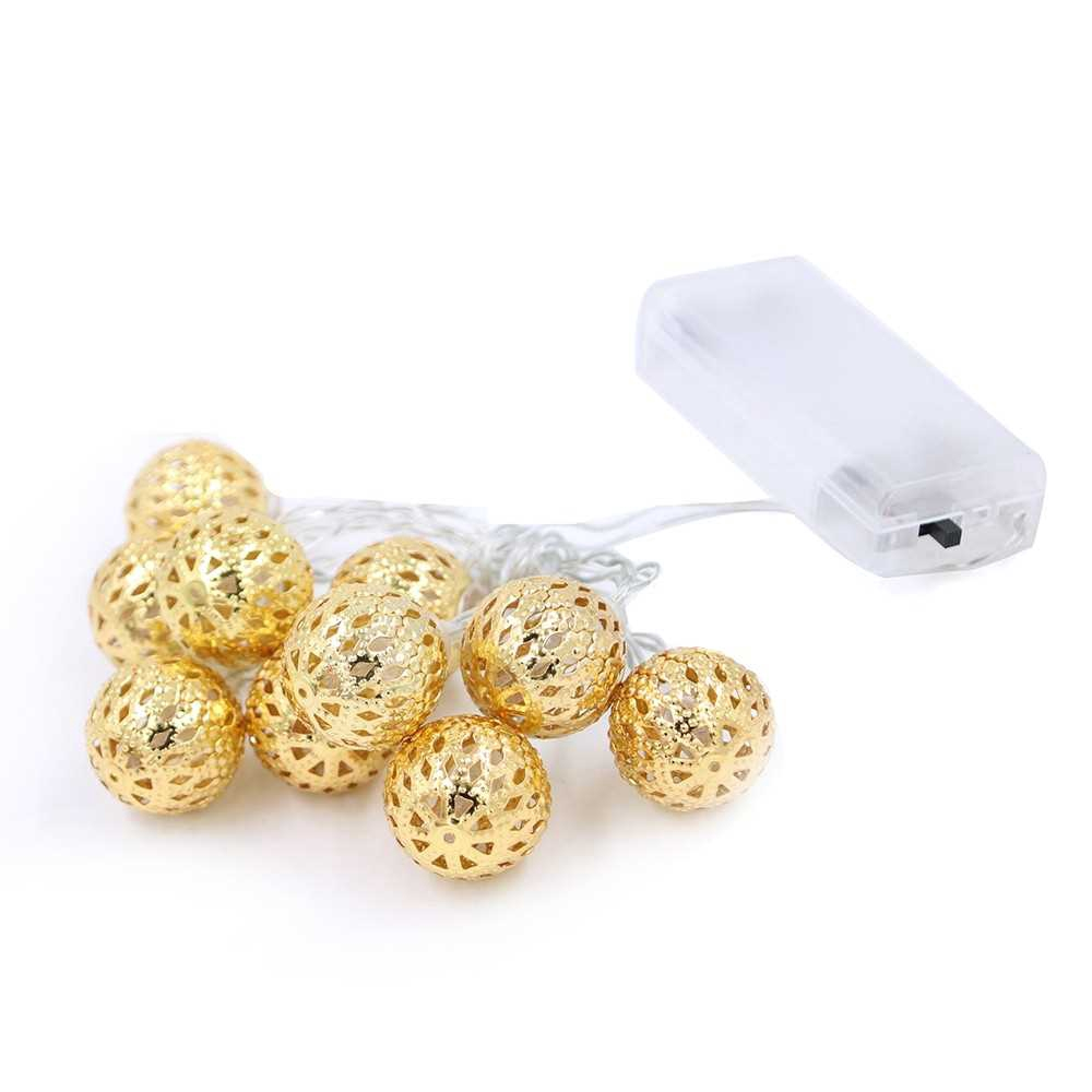 Decorative String Lights 10 LED Metal Ball Light for Christmas Holiday Party Home Garden Decoration (Yellow)