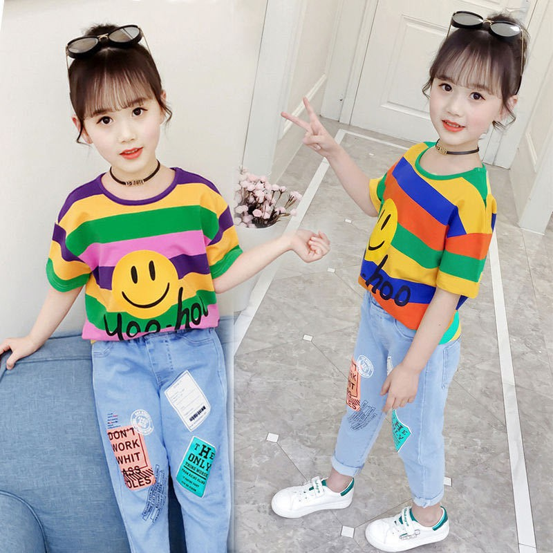 Fashion Pakaian Kanak Kanak Perempuan 2020 Pakaian Besar Korea Kanak Kanak Besar Pakaian Musim Panas Gaya Barat Bergaya Kanak Kanak Dua Pasang Shopee Malaysia
