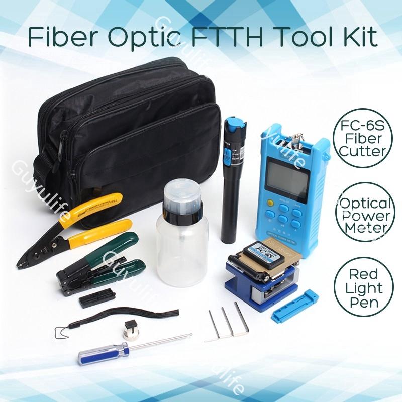 10in1 Fiber Optic FTTH Tool Kit FC-6S Fiber Cleaver Optical Power Meter Test Pen