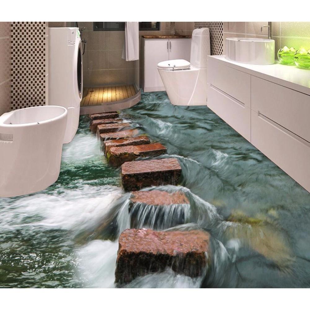 Floor Wallpaper 9d River Stones For Bathrooms Kitchen Floor Mural