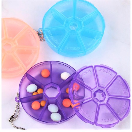 Pill Box Round Shape Medicine Health Tablet Holder Storage Container Case Pill Box 7 Compartments
