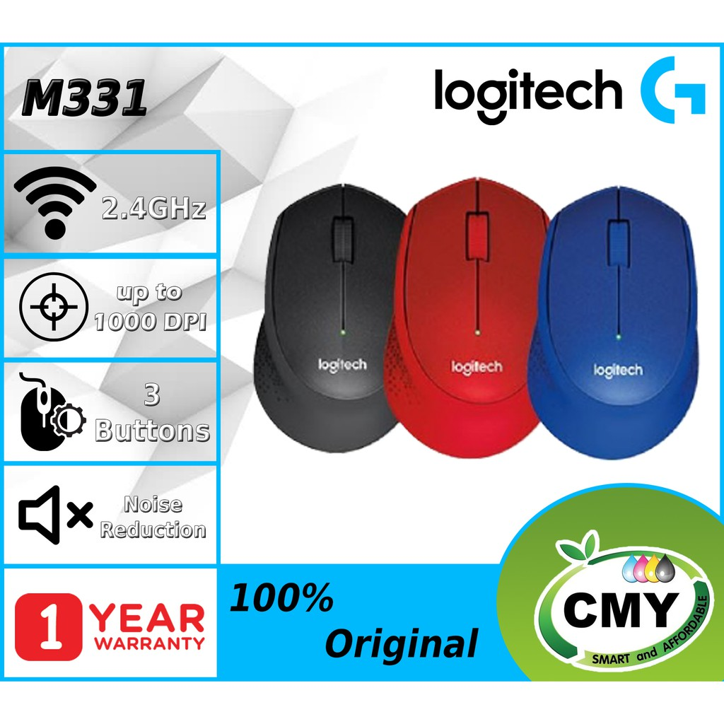 [3 Hour Delivery] Logitech M331 Silent Plus Wireless Mouse Black 910-004914 Red 910-004916 Blue 910-004915