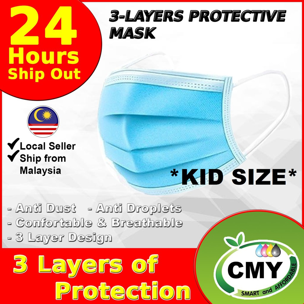 (Malaysia Ready Stock) 3 Ply Protective Disposable Kids Face Mask (50 Pcs/Box) Child Face Mask Kid Mask