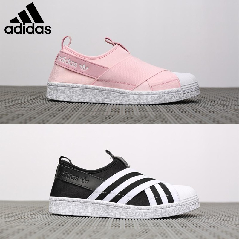 buying cheap new high quality temperament shoes Adidas Superstar Slip On W elastic bandage casual flat shoes men women shoes