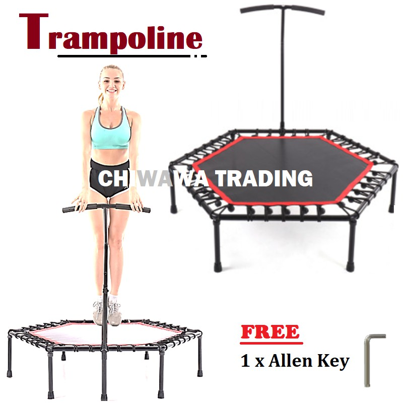 PRO Trampoline Rebounder Fitness Slimming Jumping Bouncer Bungee + T Bar Handle