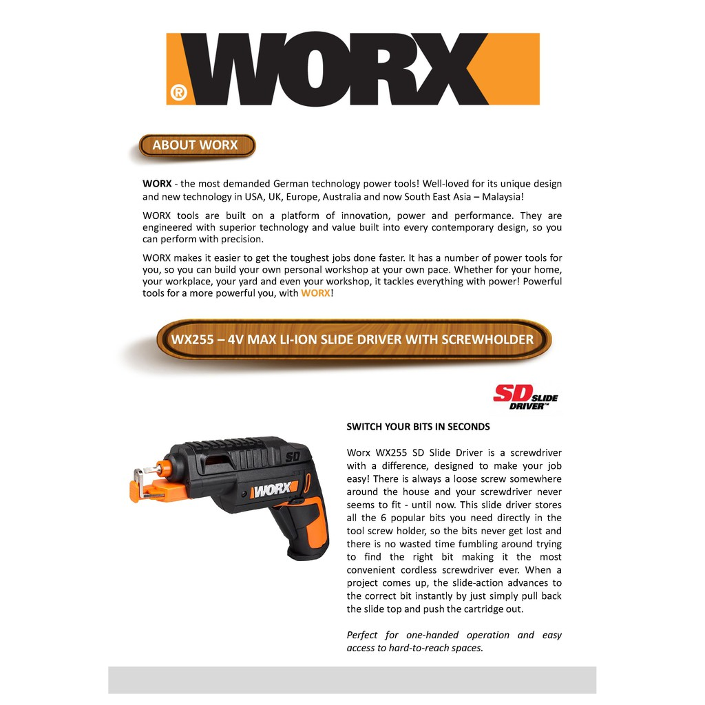 WORX WX255 4V Max Li-Ion with Screwholder Cordless SCREWDRIVER SCREW DRIVER