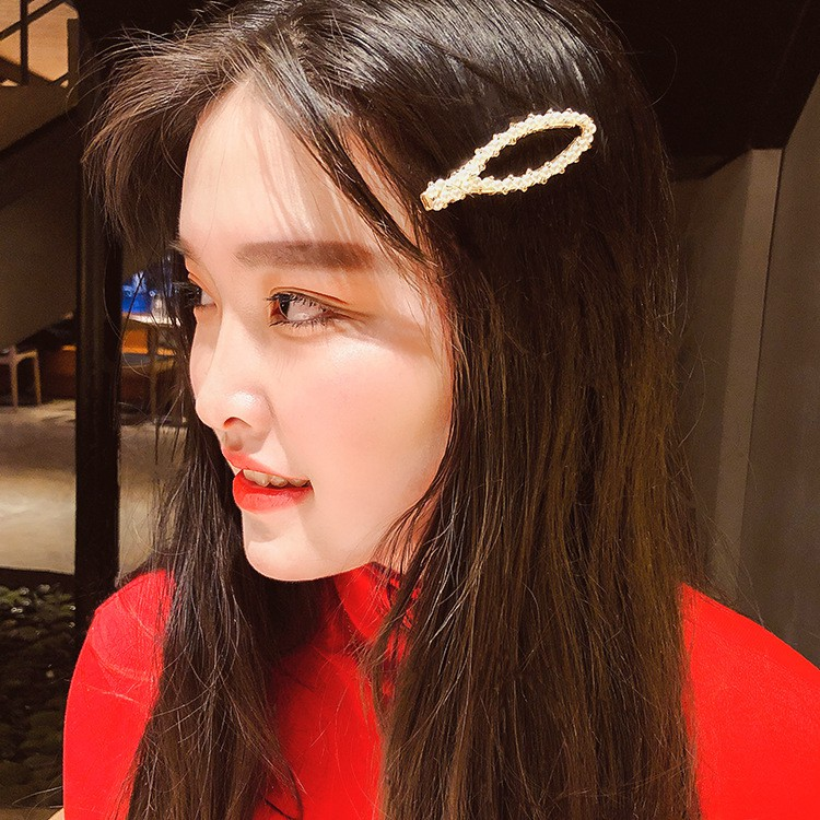 Super Fire Pearl Hairpin Elegant Bangs Net Red Hair Card Clip Headdress Female