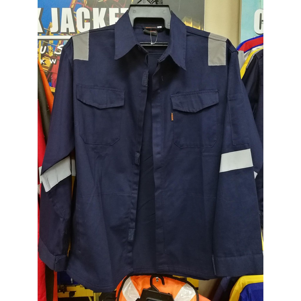 MT Safety Working Jacket Kerja With Reflective (100% Cotton)