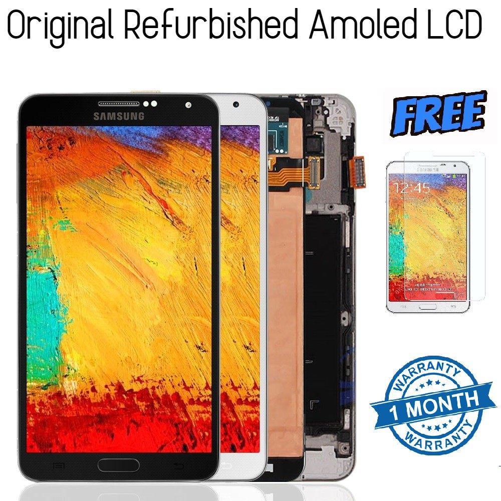 [ORI] Samsung Note 3 N9000 3G N9005 4G AMOLED LCD with Frame Newly Refurbished LCD FREE Tempered Glass