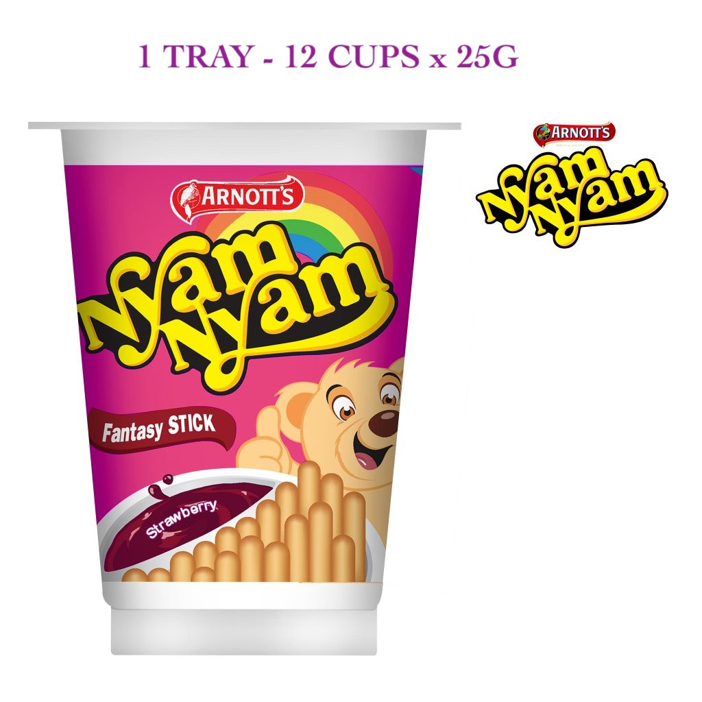 NYAM NYAM [100% Original & Halal] - FANTASY STICK STRAWBERRY (12 Cups x 25g)  ***Fresh Stocks***