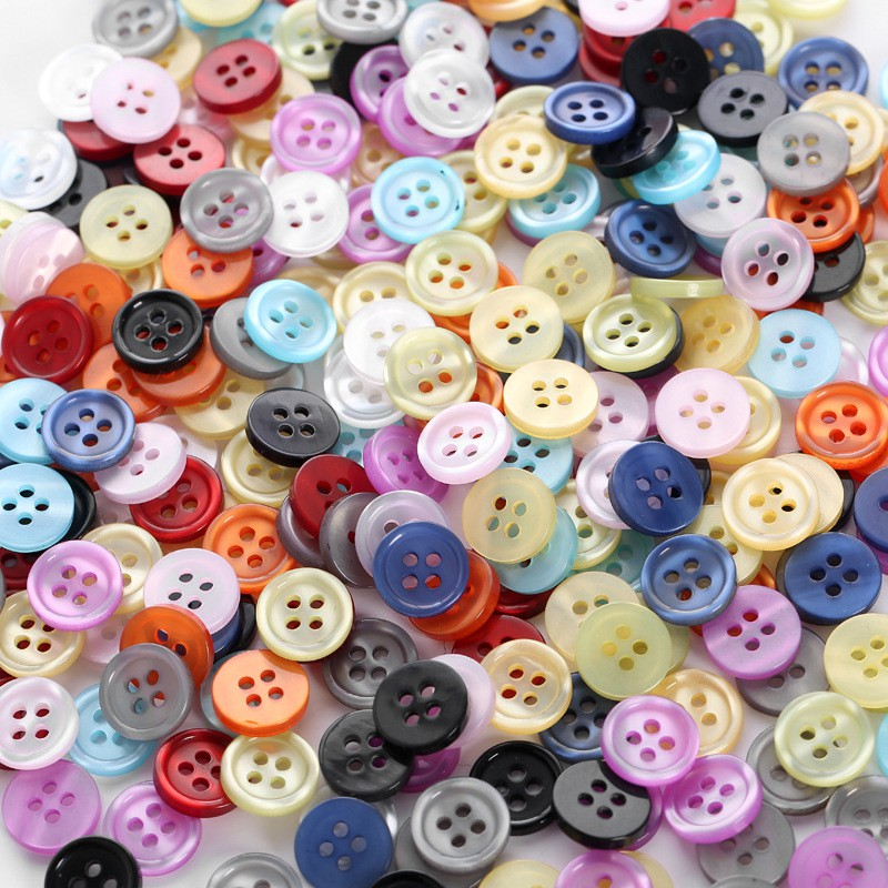 Resin Buttons Flat Round Mixed Color Sewing Craft Findings 50x