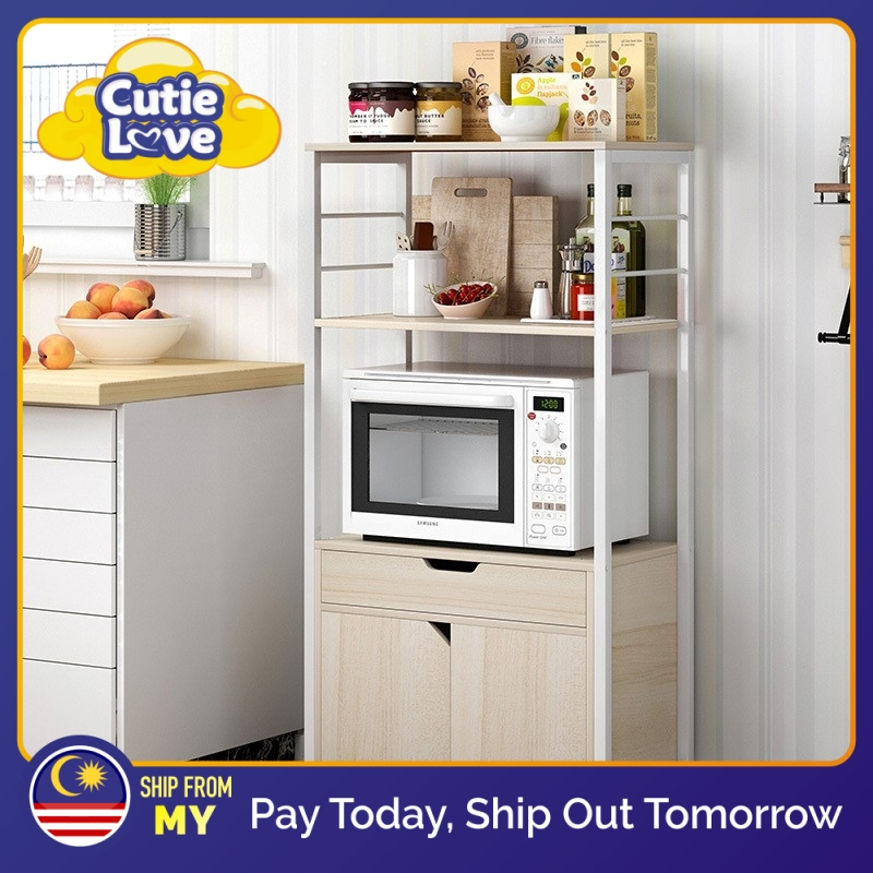 kitchen storage racks household microwave oven rack multi function living room storage cupboard with drawer