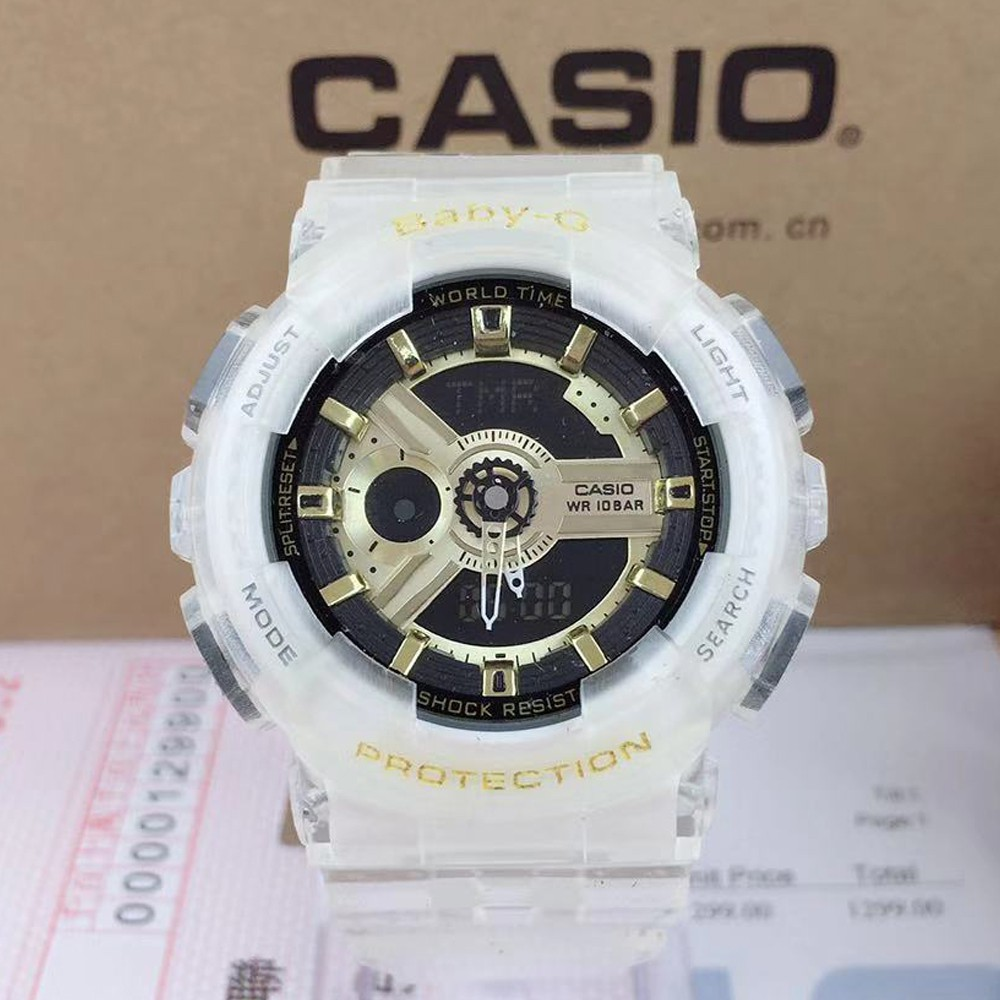 Casio Baby-G BGA210 Girl Quartz Watch Women Sport Watch White Silver BGA-210-7B4 Jam Tangan