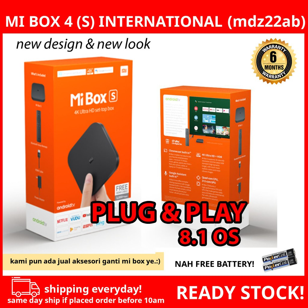 (6 MONTH WARRANTY) Xiaomi Mi Box MiBox S International Global Version Smart  TV