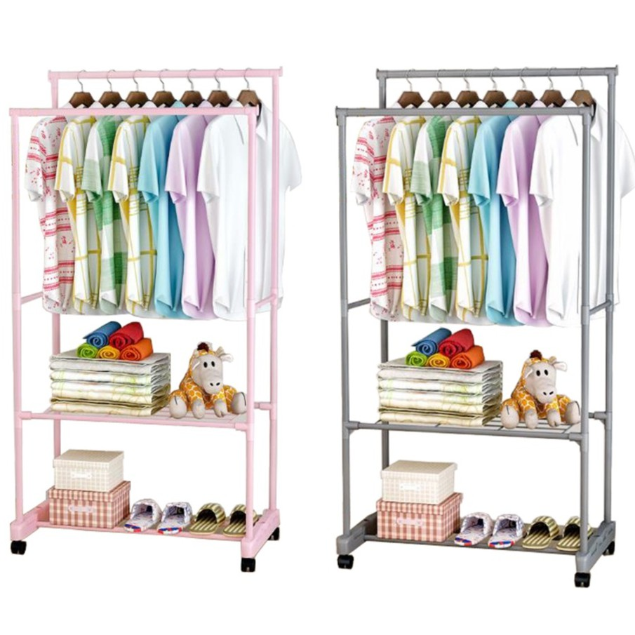 Double Pole Multi-Function Clothes Hanger with 2 Layer Storage Rack