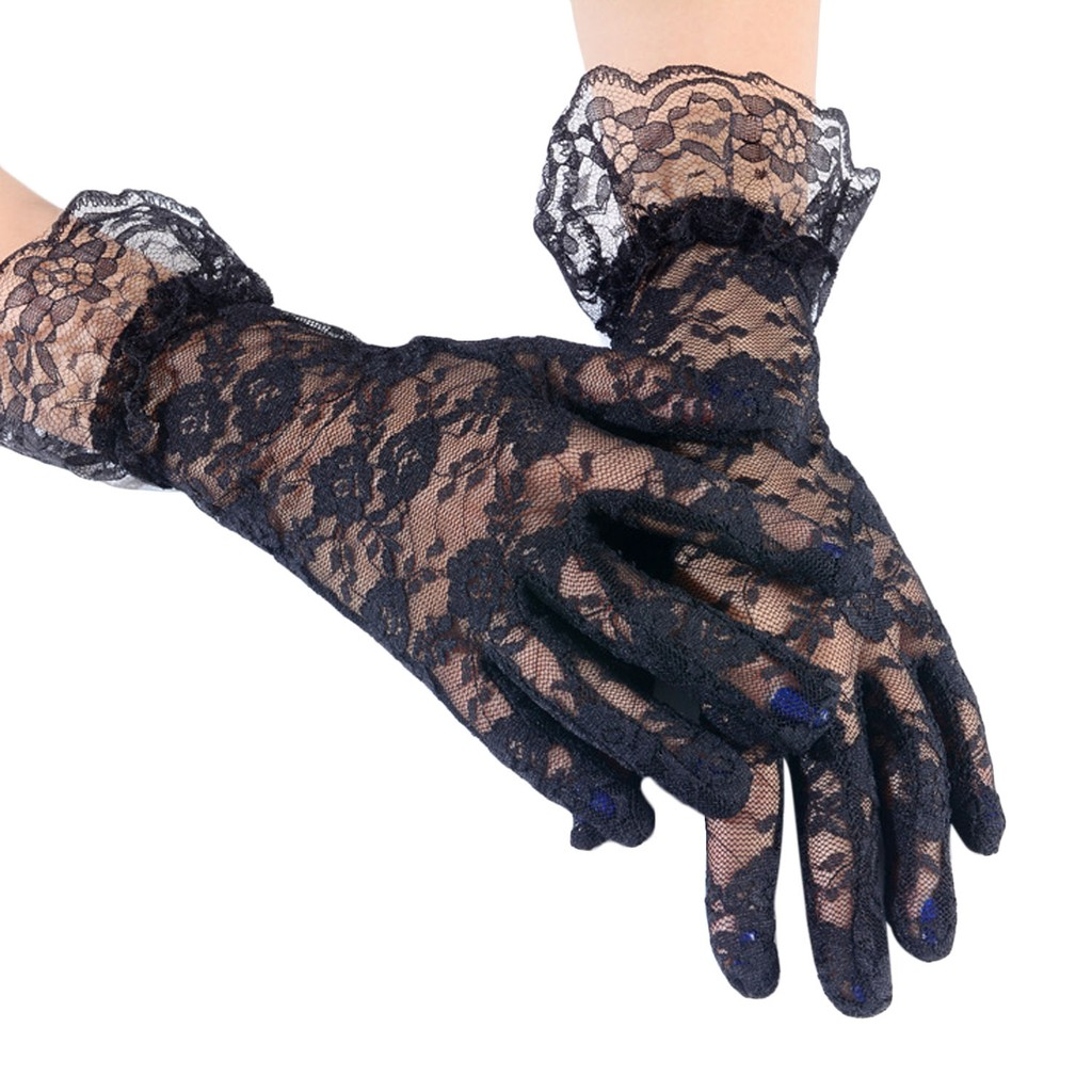 2fe26ee56 Women Ladies Bridal Party Lace Flower Short Fingerless Lace Wedding Gloves  | Shopee Malaysia