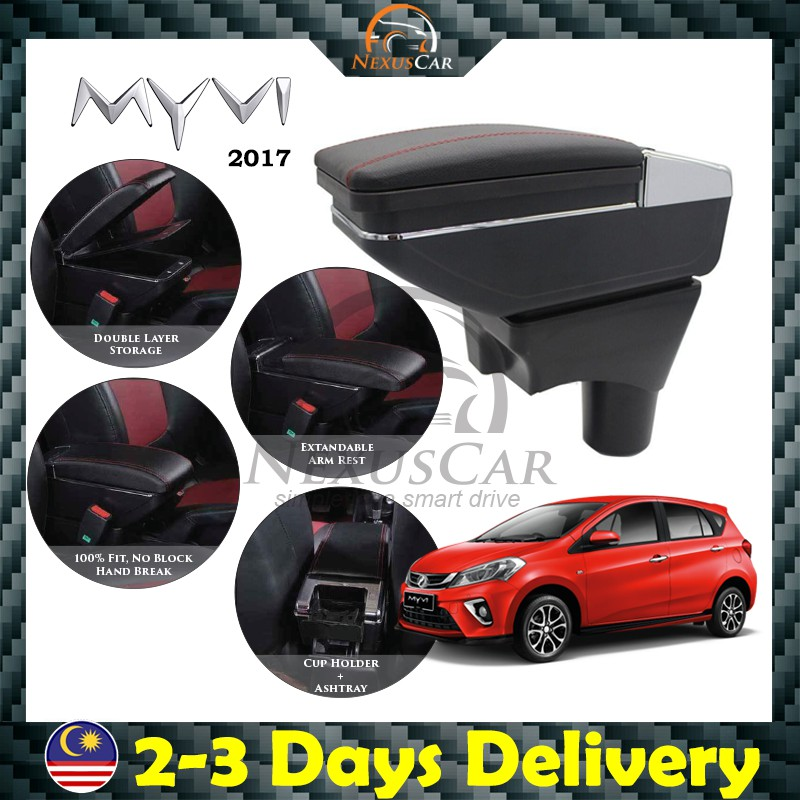 🔥 READY STOCK 🔥 Perodua Myvi 2018-19 7USB Adjustable Arm Rest Armrest