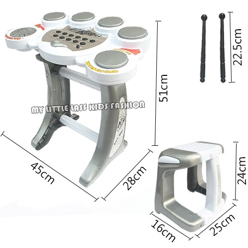 Rockin' Music Set Electronic Drum Rock Tour Battery Operated Rock N Roll Drum Toys for Boys