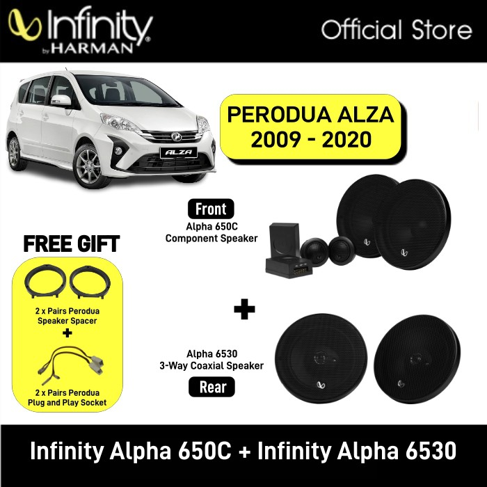 Infinity Alpha 650C 6.5inch 2-Way Component System + Infinity Alpha 6530 6.5 3-Way Speaker Package Perodua Alza