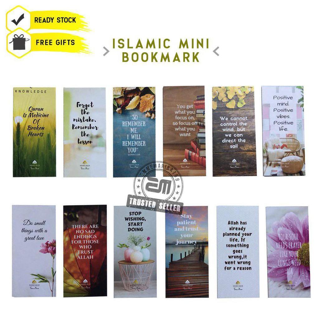 101pcs Mini Bookmark Small Gift Free Gift Islamik Quotes Freegift Hadiah Kad Zikir Asma ul husna Kad Doa EMMEMARINA