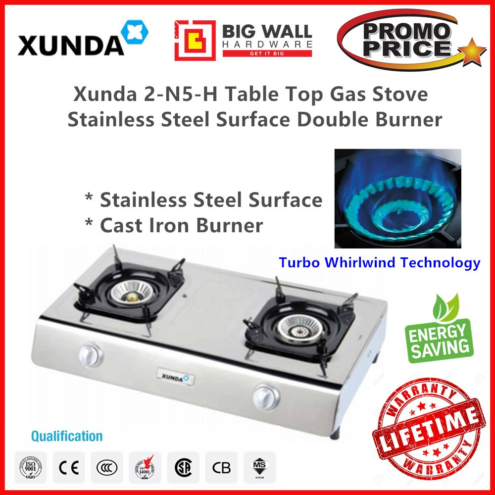 Xunda 2-N5-H Table Top Cooker Stainless Steel Surface Double Burner Gas Stove with Gas Regulator Set & Hose *Dapur