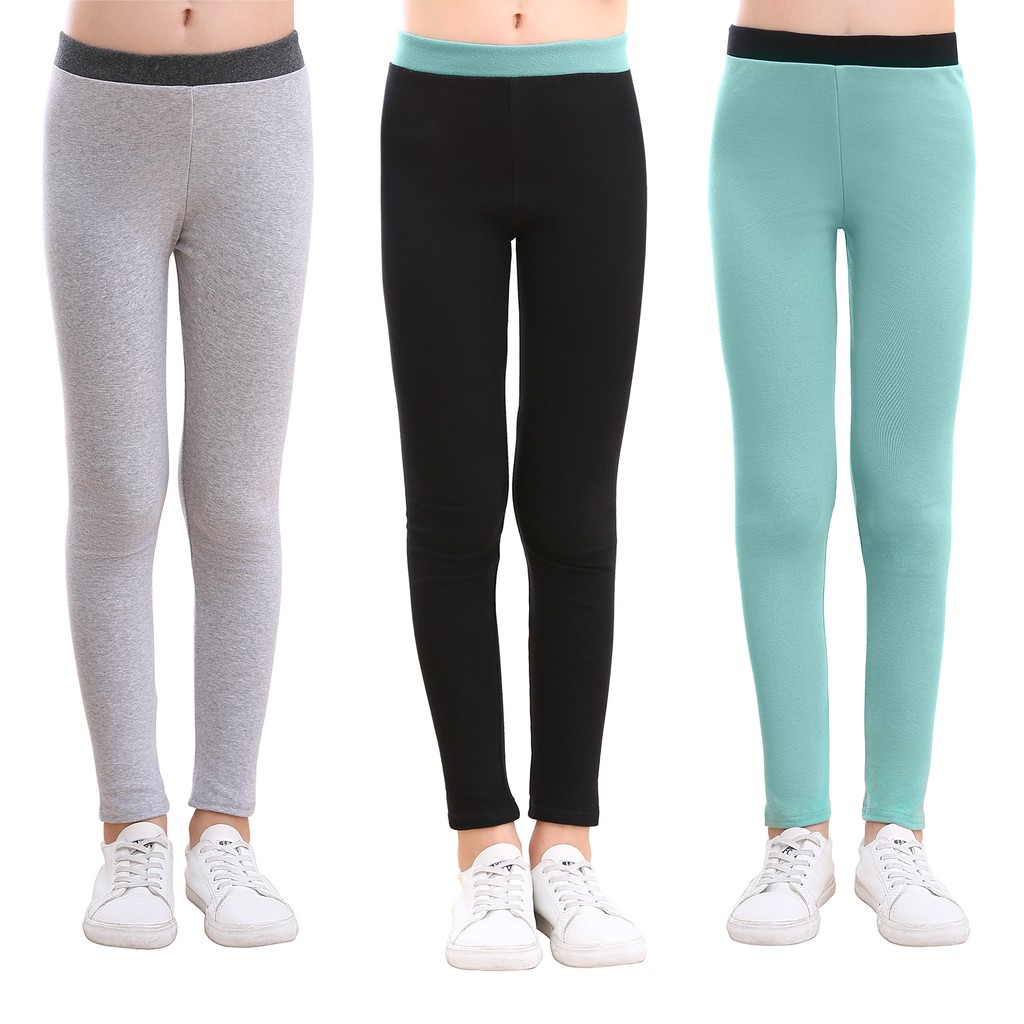 slaixiu Warm Girls Leggings Fleece Lined Winter Thick Printing Kids Pants