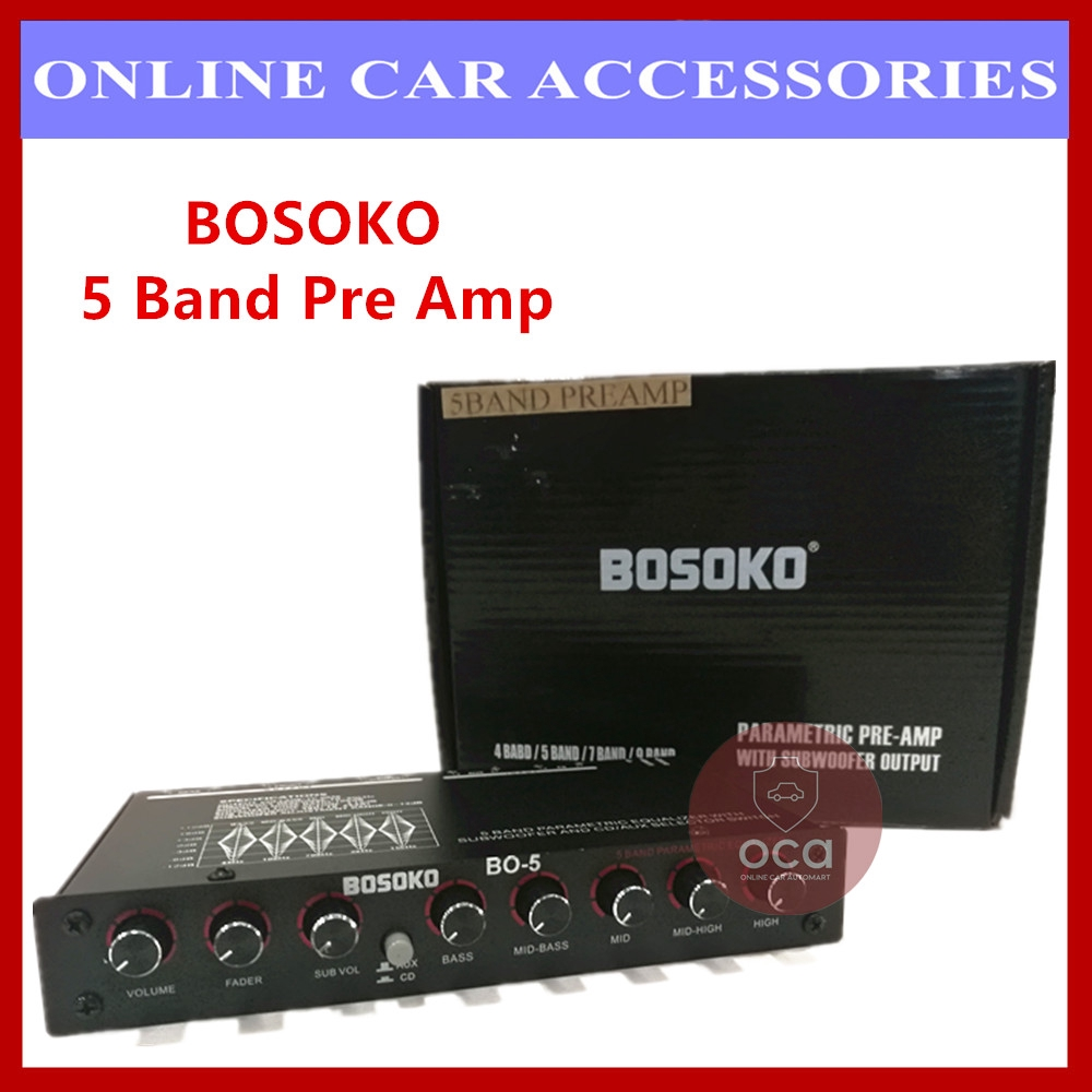 BOSOKO 5 Band Car Audio Pre Amp/ Preamp Parametric Equalizer with Subwoofer Output