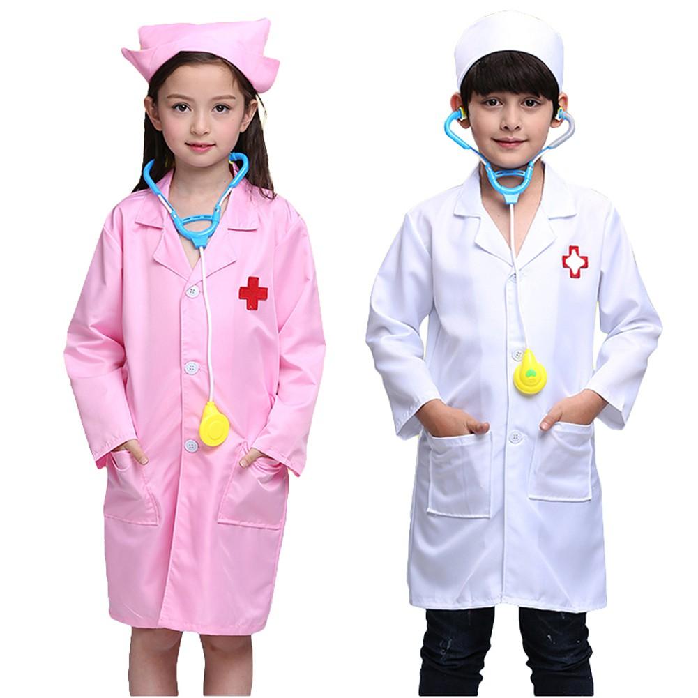 Children Kids Doctor Coat Costume Nurse Uniform Fancy Dress Up Cosplay Clothes