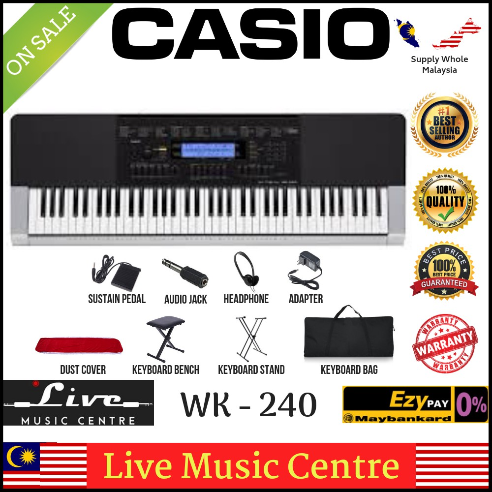 Casio WK-240 76-Keys Keyboard Piano Pack B (wk240)