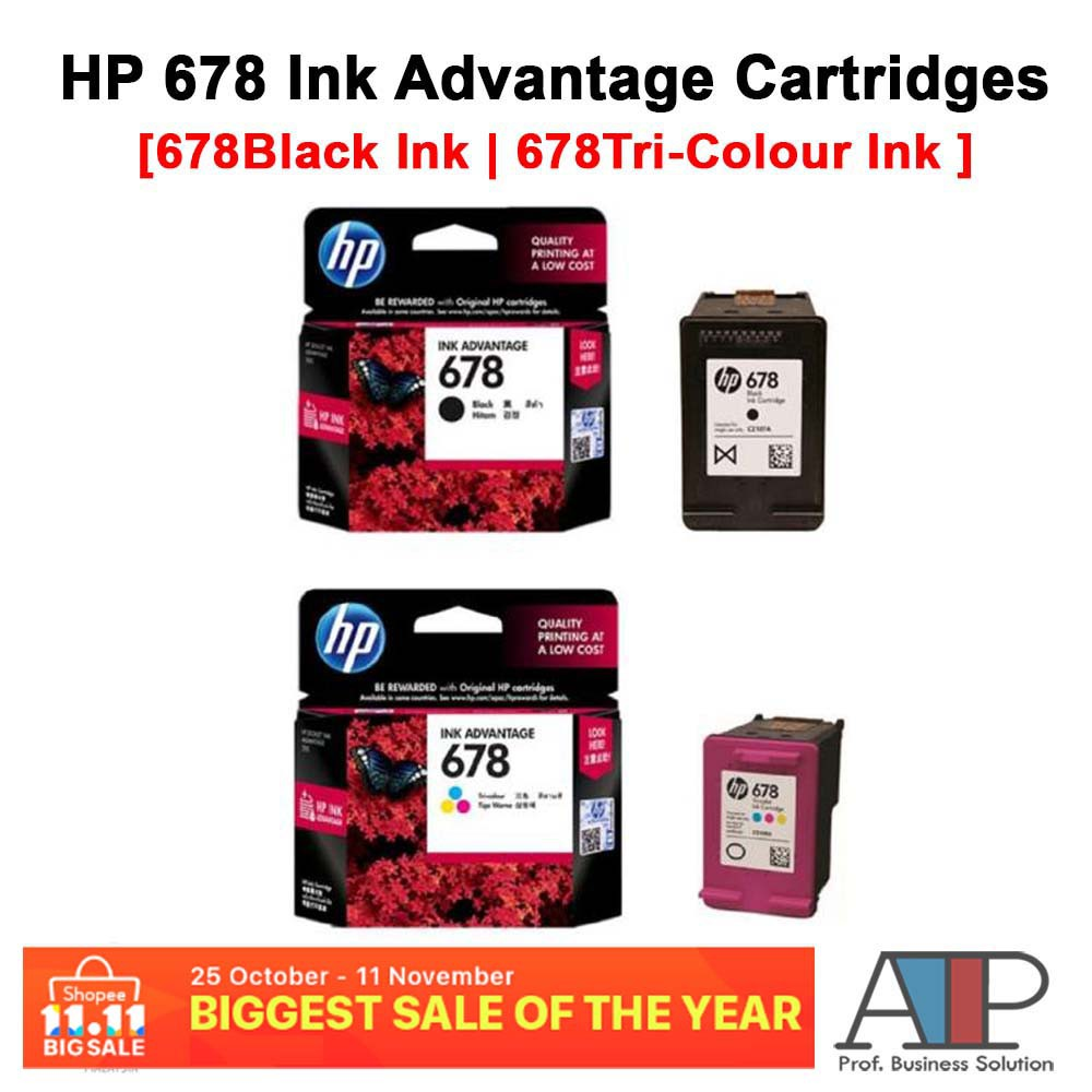 Hp 678 Black Ink Shopee Malaysia Catridge Cz107aa Original