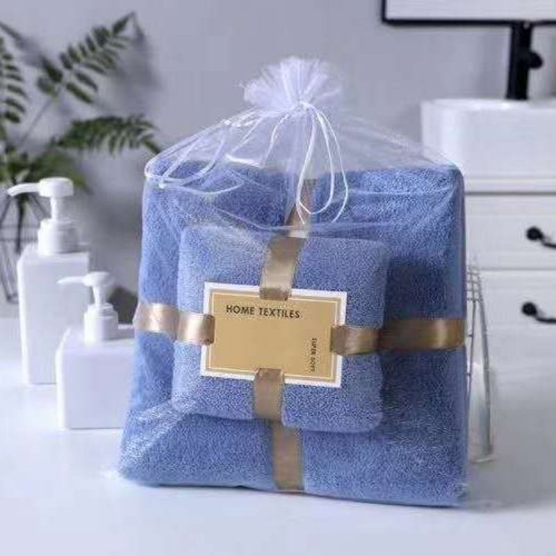 towel bath towel set bathing, quick-drying than pure cotton, absorbent and no lint 加大家用毛巾浴巾套装速干比纯棉吸水不掉毛 2 in1(2pcs)