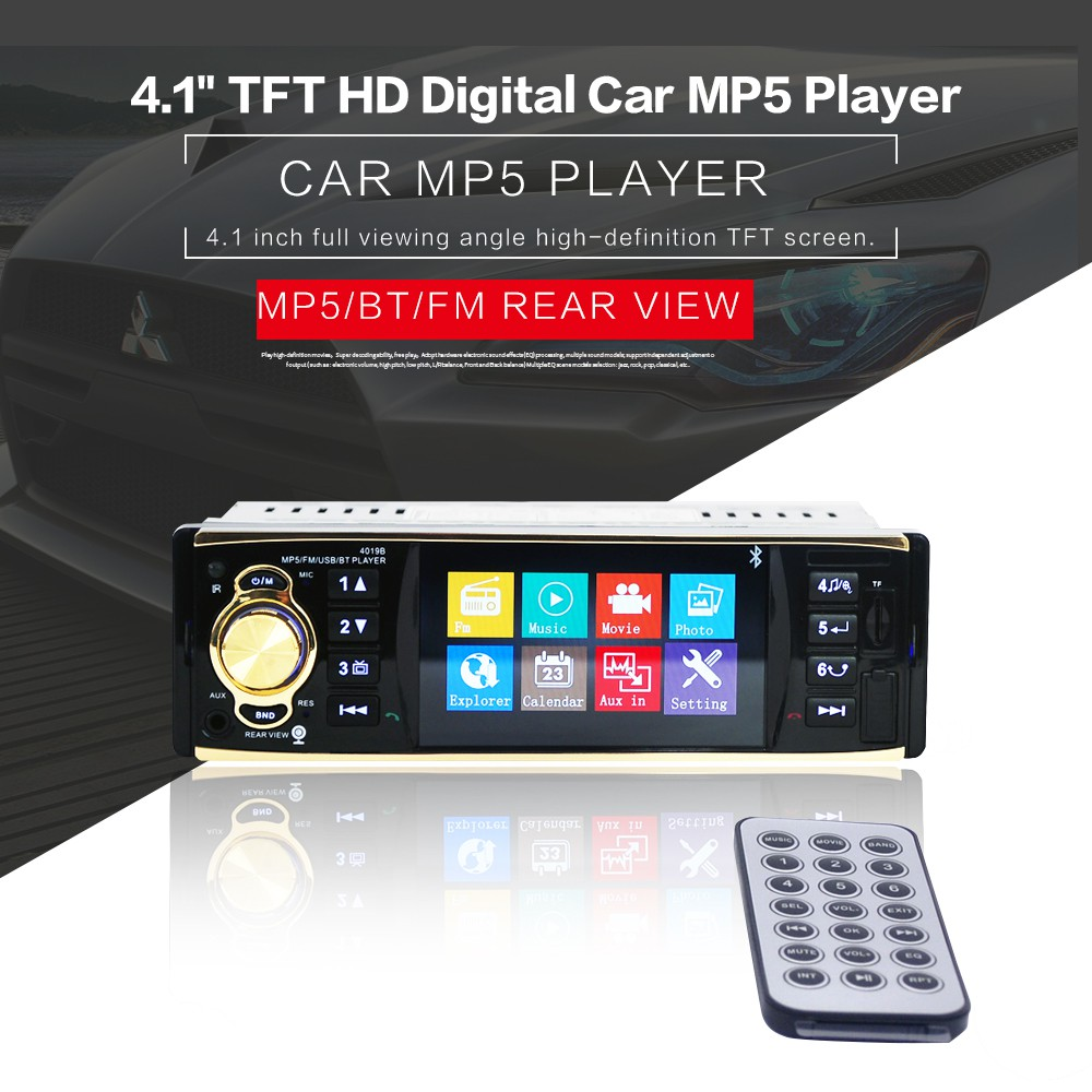 """4.1/"""" HD Double 1DIN Bluetooth Touch Screen Car Radio Stereo MP5 Player HD+Cam BP"""