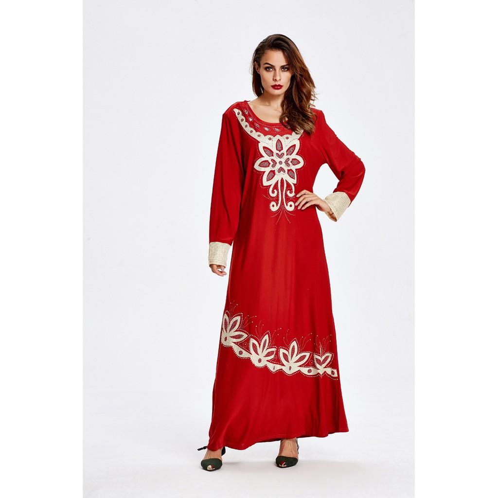 d91caeaa9b JANUAR Muslim Robe Abaya Long Sleeve Embroider Dress Jubah Muslimah ZZL5717