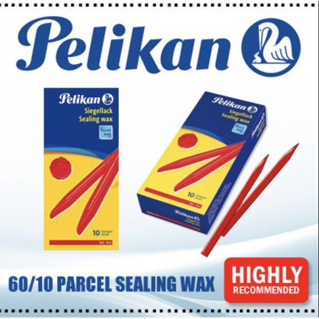"Pelikan Sealing Wax 60/10 7.5"" Stick Seal Stamps Wick Envelop Letter"