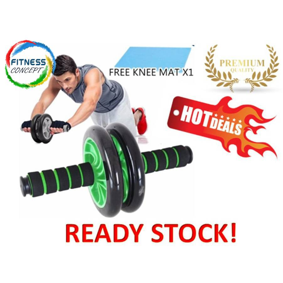 Abs Roller Wheel Aa Fitness Free Knee Pad Shopee Malaysia Alat Fitnes Roll