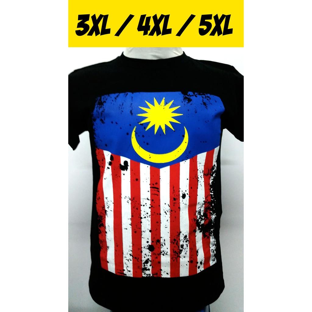 Malaysia Flag T-shirt Merdeka 3XL to 5XL 100% Cotton