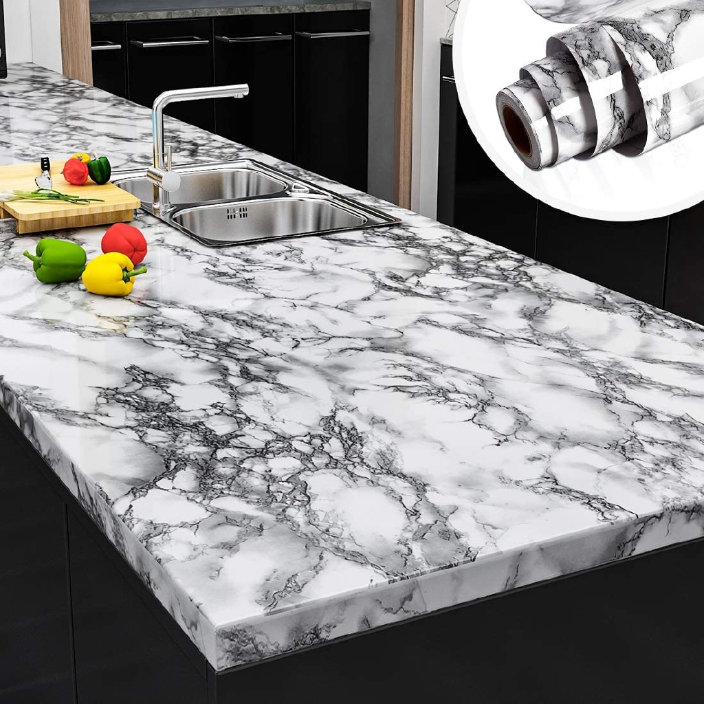 10m White Marble Stick Wallpaper For Kitchen Self Adhesive Waterproof Wall Paper For Bathroom Home Decor Shopee Malaysia