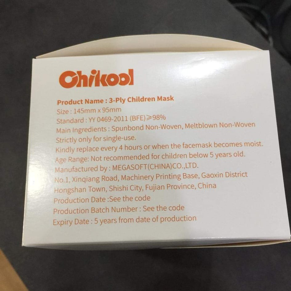 Chikool Children's 3 Ply Face Mask 50pcs