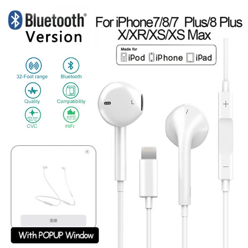 Lighting Earbuds for iPhone 7 Earphones Connector Pop-up Pair Headphones Isolating Headset Support Call Volume Control Compatible with iPhone 7//7 Plus//8//8 Plus//X 10//XS Max//XR for iOS 12