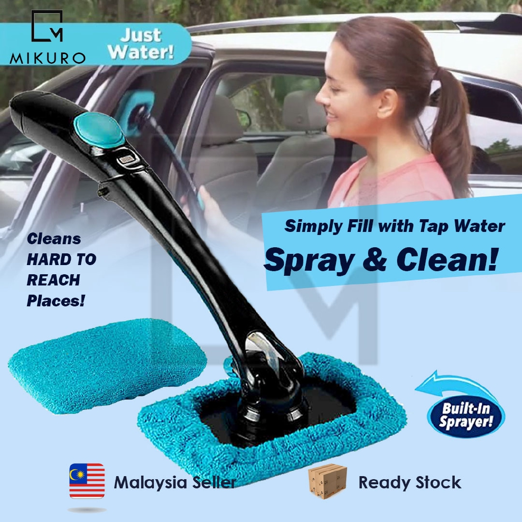 Car Window Cleaner Spray Windshield Cleaning Tool with Foldable Handle Pivoting Head Front Inside Glass Screen Brush with 3 Reusable Microfiber Cleaning Bonnets